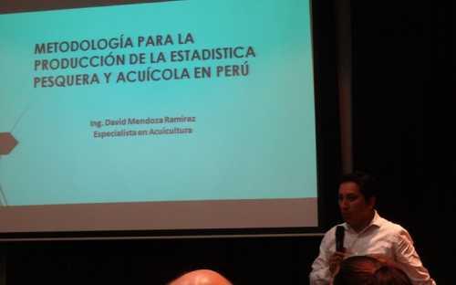 exposición de David Mendoza, de PRODUCE, sobre el sistema estadístico pesquero de Perú