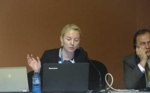 """Nora Kokanova, de FAO, presentando el tema del """"empleo decente"""""""